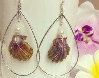 Sunrise Shell Hoop Earrings, Sunrise Shells, Hawaii Earrings, Hawaii Shell Earrings, Silver Shell Earrings