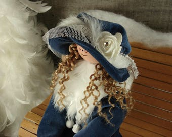 Decorative doll handmade wood and textile. Beatrice. #175