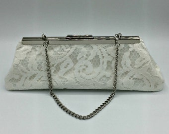 Ivory Satin and Lace Clutch