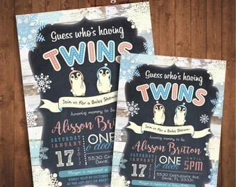 Penguin Twins Baby Shower Invitation. Winter baby. Digital Printable card
