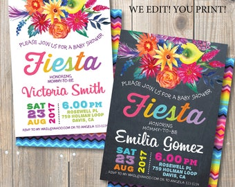 Fiesta Baby Shower Invitation. Mexican Fiesta . Watercolor Mexican Flowers.  DIY Card. Double