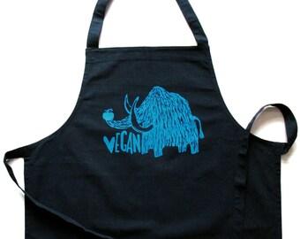 Vegan mammoth, organic cotton full apron, bib. Screen printed by hand.