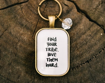 FREE SHIPPING - Find Your Tribe Love Them Hard Rectangle - Quote Necklace - Jewerly - ...