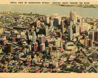 Detroit Michigan Aerial View of Downtown Vintage Postcard 1946