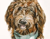 PERSONALIZED 9x11 dog portrait; (photos are examples) original watercolor painting on paper