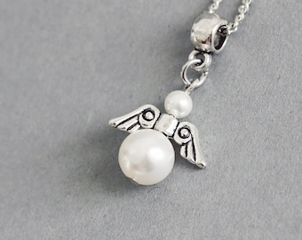 Angel Necklace White Pearl Necklace Angel Jewelry Cute Angel Jewelry Swarovski Pearl Necklace Pearl Angel Pendant Birthday Gift White Angel