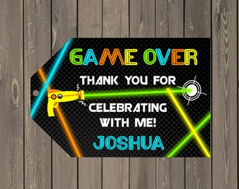 Laser Tag Favor Tag, Neon Laser Tag Party Goody Bag Tags, Boys Party Favor Tags, Printable Thank you Tags