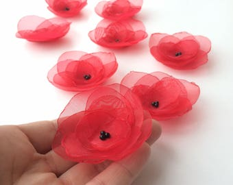 Fabric Flowers,  floral embellishments, flower appliques, Sew on flower, Organza Blossom,  floral supplies, wedding decor, red flowers