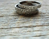 Hand Stamped Ring Name Ring Stacking Ring Mothers Ring Personalized Name Ring 3mm Shiny Stainless Steel comfort fit