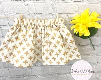 Gold Toddler skirt 18/24 months - gold cross toddler skirt - Girls skirt - Springs Skirt - Easter Skirt