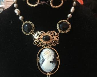 Vintage collage necklace