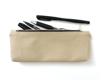 Canvas Pencil Case Zipper Pencil Pouch Beige