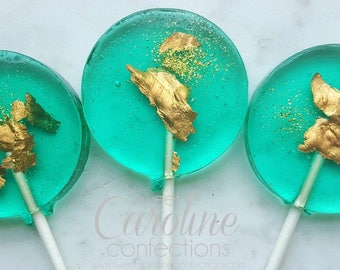 Teal and Gold Sparkle Lollipops, Gold Candy, Wedding Favors, Lollipop Favors, Gold Favors, Sweet Caroline Confections-Set of Six