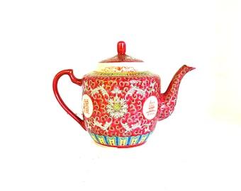 Oriental Tea Pot, Chinese Tea Pot, Asian Mun Shou Rose Longevity Pattern, Hand Painted Tea Pot, Porcelain Tea Pot, Lotus Blossom Tea Pot