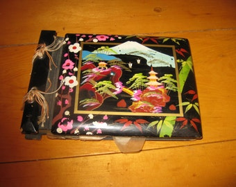 Vtg 50s Japanese lacquer hand painted photo album / scrap book free ship
