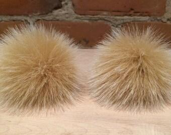 Removable Pom Pom, Faux Fur Pompom, 3.5 Inch, Gold Fox, Faux Fur Pom, Fur Ball, Knit Hat Pom, Removable, Knitting Supplies, Crochet Supplies