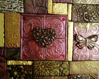 Unique polymer clay mosaic journal/notebook/diary in shades of red and gold