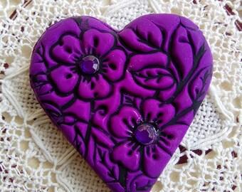 Purple flowery polymer clay heart fridge magnet, teacher gift, heart fridge magnet, decorative fridge magnet