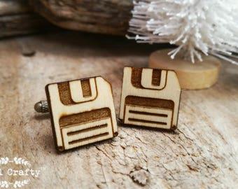 Floppy Disk Wooden Cufflinks Diskette Cuff links Dad Grooms Best man Groomsman Rustic Wedding Birthday Gift