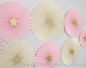 Twinkle Twinkle Little Star, Pink and Gold Set of 8 (eight) Paper Rosettes