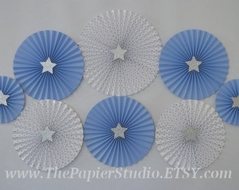 Twinkle Twinkle Little Star, Blue and Silver Set of 8 (eight) Paper Rosettes