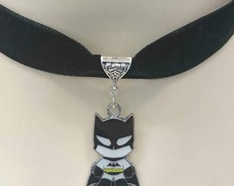Handmade Avengers choker necklace 16mm black velvet ribbon Batman Captain America Ironman Spiderman Wolverine 5 designs.