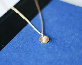 Speak Up - Gold Disc & Pearl Necklace - June Birthstone Necklace