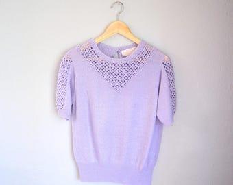 Vintage Lavender Open Knit Short Sleeved Lightweight Sweater