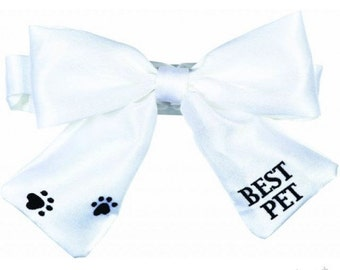 White Satin Embroidered BEST PET Dog Bow Wedding Paw Print Accented