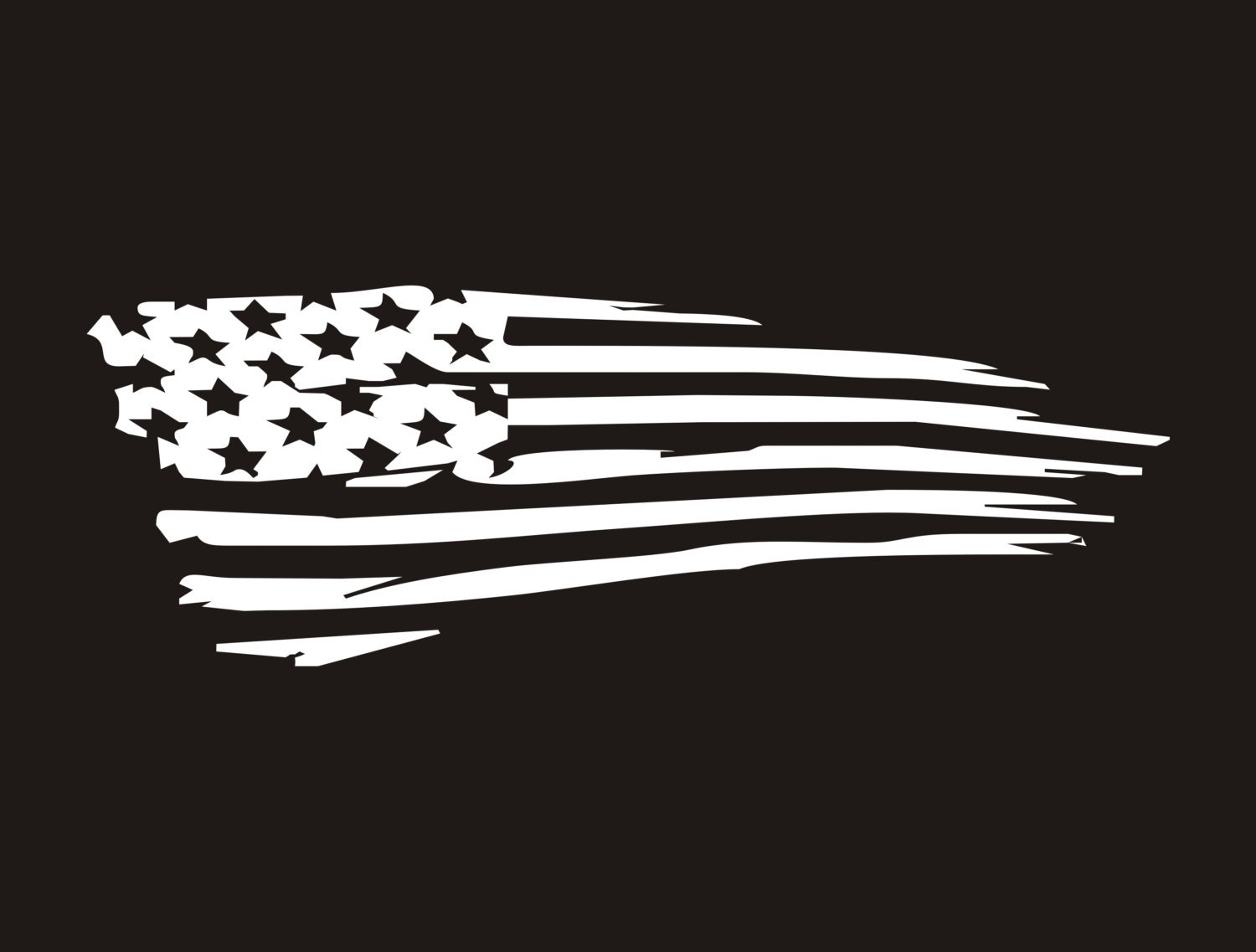 American Flag Vinyl Decal Tattered Flag Decal Ragged