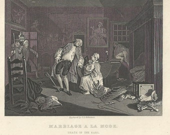 "Hogarth 19th Century Engraving ""Marriage a la Mode--Death of the Earl"" 8.5x11"