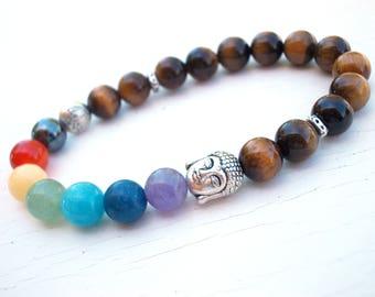 Seven Chakra bracelet, Buddha Lotus bracelet, Chakra bracelet, Buddha bracelet, Tiger Eye bracelet, Lotus bracelet, Yoga meditation bracelet