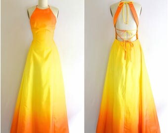 Ombre Fairy Prom Dress/ 80s Yellow Orange Backless Maxi Dress/ Burning Man Ren Fest Dress/ Womens Size Small to Medium