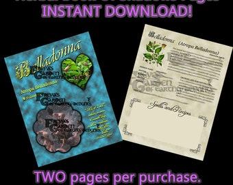 Belladonna Herbal Book Of Shadows, Herbal Witchcraft Information, Herbal Correspondences, Herbal Spells, Digital Download Herbal BOS pages
