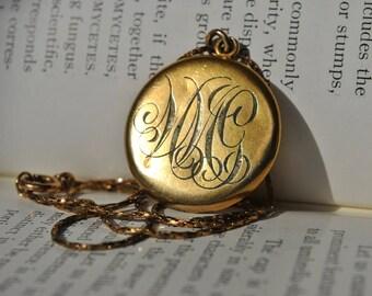 Antique Gold Filled Locket - 1900s Art Deco Necklace, Monogrammed, Paste Stones