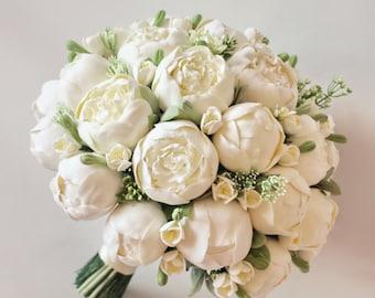 Alternative wedding bouquet Keepsake Bridal Bouquet White peonies bouquet Peony bouquet Clay flowers bouquet Toss bouquet