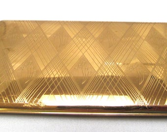 Elgin American Engraved Cigarette Case Geometric Design