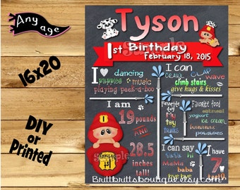 First Birthday Chalkboard sign boy 1st birthday fireman chalk board photo prop customized first birthday poster digital file or printed