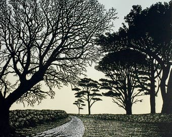 To The Sea, English landscape, tree silhouettes, country road