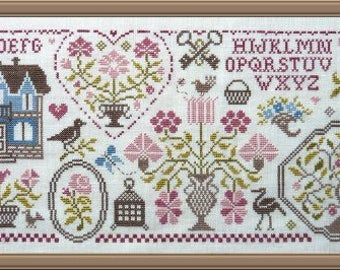 Quaker Sampler of Flowers 2 – counted cross stitch chart to work in 9 colours of DMC threads.  ABC Sampler. Quaker Sampler.