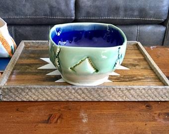 Large Pottery Serving Bowl. Decorated Fruit Bowl. Porcelain Home Decor. Green Pottery. Unique Wheel Thrown Ceramics. Altererd Pottery Bowl