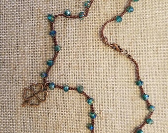 Four leaf clover crocheted beaded necklace