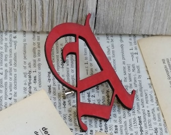 The Scarlet Letter Brooch, Red Letter A, Book Brooch, Book Pin, Literature Pin, Literature Brooch, Book Lover Gift, Bibliophile, Librarian