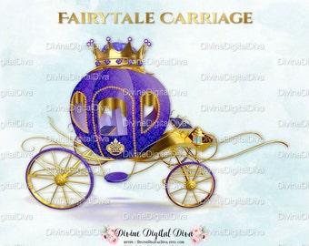 Princess Carriage Coach Purple & Gold Crown | Clipart Instant Download
