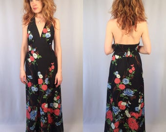 Vintage 1970's Royal Palm Floral Print Maxi Dress