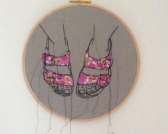 "Handmade hoop embroidery, 8""hoop, wall decor.  Birkenstock sandles"