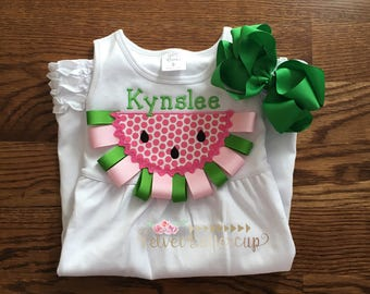 Watermelon Dress - Watermelon Shirt - Summer Shirt - Summer Dress - Girls Birthday Gift - Gifts for Girls - Appliqued Dress - Appliqued