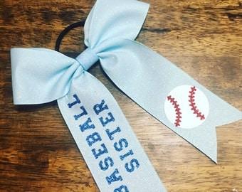 Baseball Sister Hair Bow
