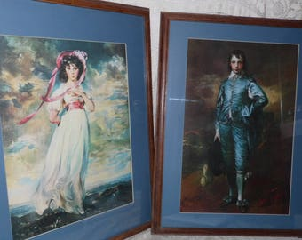 Vintage Large Pinkie & Blue Boy Picture Prints Under Glass Set Wood Frames