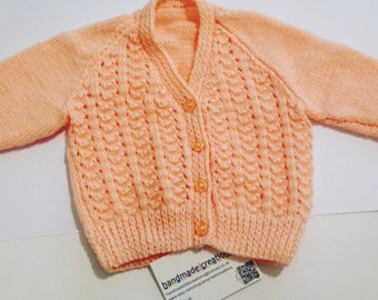 Hand-knitted Soft Peach Baby Girl Cardigan 3-6 Months, Peach Cardigan, Baby Girl, Lacey Cardigan, Baby Clothes, Baby Knits